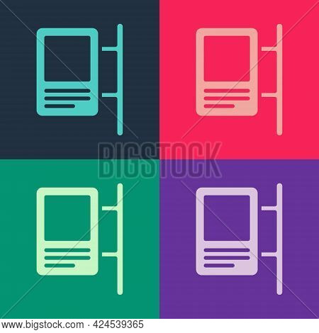 Pop Art Road Traffic Sign. Signpost Icon Isolated On Color Background. Pointer Symbol. Isolated Stre