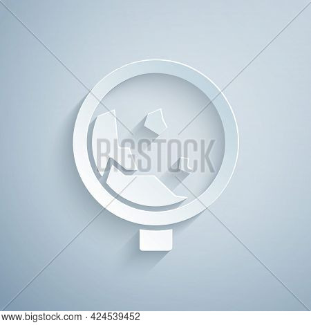 Paper Cut Road Sign Warning Avalanche Rockfall Landslides Icon Isolated On Grey Background. Traffic