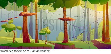 Adventure Park, Rope Climbing Center In Forest With Obstacles, Suspended Ladders And Wooden Platform