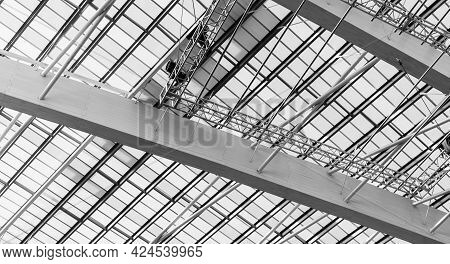 Roof And Plastic Skylights Of Building. Dome Skylights Made Of Translucent Polycarbonate Sheets. Int