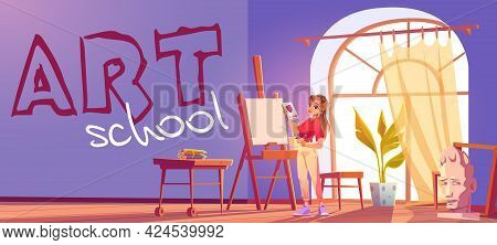 Art School Cartoon Banner. Artist Girl At Easel Paint Flower. Painter Young Woman In Teenage Clothes