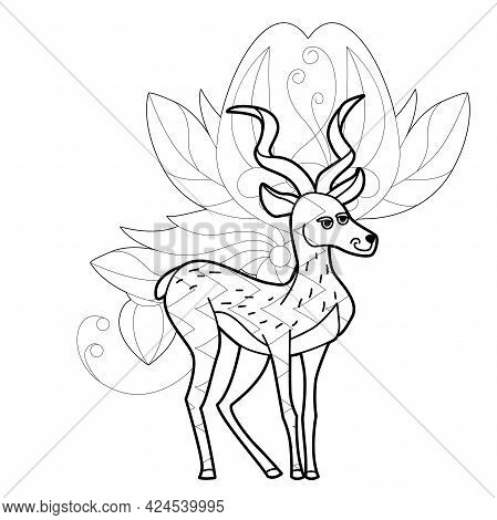 Contour Linear Illustration With Animal For Coloring Book. Cute Gazelle, Anti Stress Picture. Line A