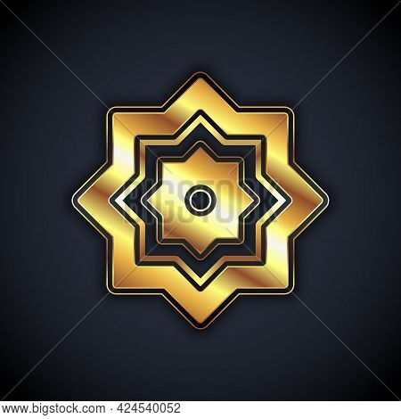 Gold Islamic Octagonal Star Ornament Icon Isolated On Black Background. Vector