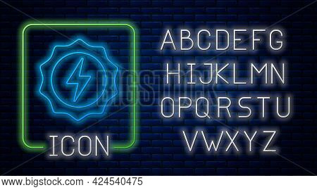 Glowing Neon Lightning Bolt Icon Isolated On Brick Wall Background. Flash Sign. Charge Flash Icon. T