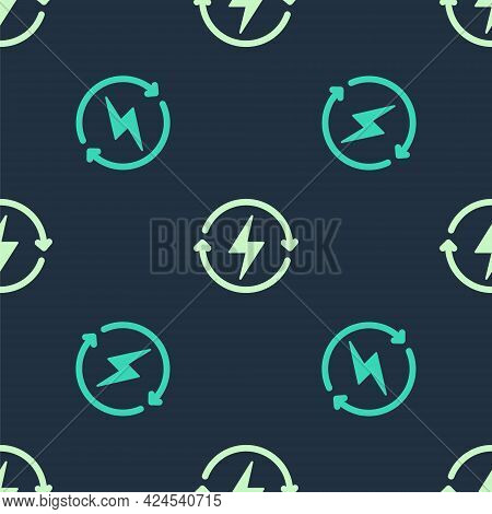 Green And Beige Recharging Icon Isolated Seamless Pattern On Blue Background. Electric Energy Sign.