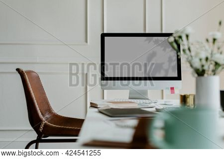 Desktop screen at an office workstation