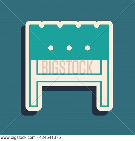 Green Bbq Brazier Icon Isolated On Green Background. Long Shadow Style. Vector