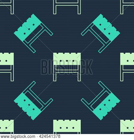 Green And Beige Bbq Brazier Icon Isolated Seamless Pattern On Blue Background. Vector