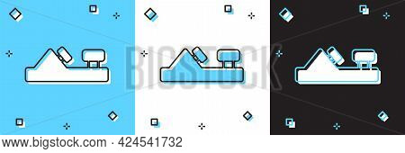 Set Wood Plane Tool For Woodworker Hand Crafted Icon Isolated On Blue And White, Black Background. J