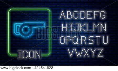 Glowing Neon Leaf Garden Blower Icon Isolated On Brick Wall Background. Neon Light Alphabet. Vector