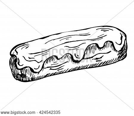 Eclair Hand Drawn Sketch Isolated On White. Vector Illustration Of Sweet Glazed French Eclair. Tradi
