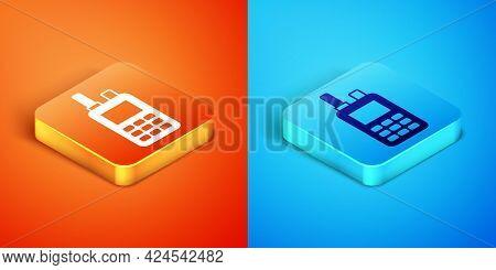 Isometric Walkie Talkie Icon Isolated On Orange And Blue Background. Portable Radio Transmitter Icon