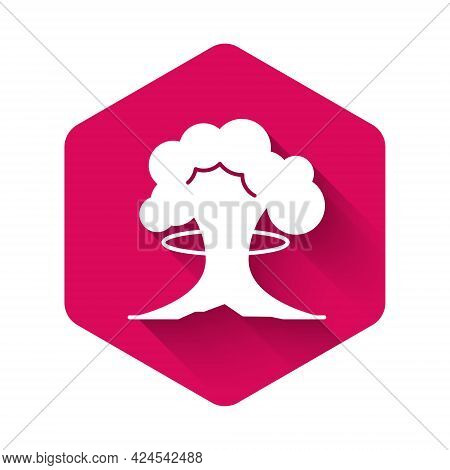 White Nuclear Explosion Icon Isolated With Long Shadow Background. Atomic Bomb. Symbol Of Nuclear Wa