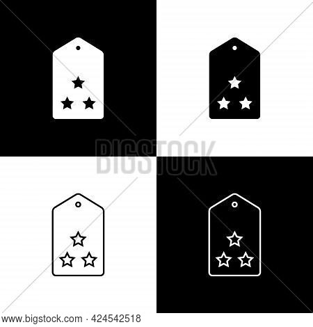 Set Military Rank Icon Isolated On Black And White Background. Military Badge Sign. Vector