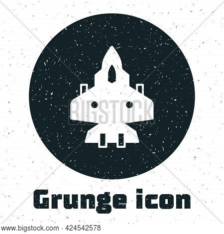 Grunge Jet Fighter Icon Isolated On White Background. Military Aircraft. Monochrome Vintage Drawing.