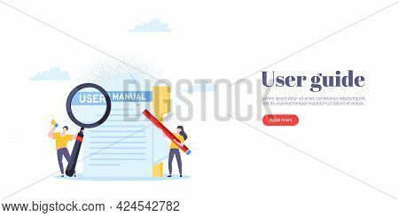 User Manual Guide Book Flat Style Design Vector Illustration. Tiny People, Magnifying Glass And Penc