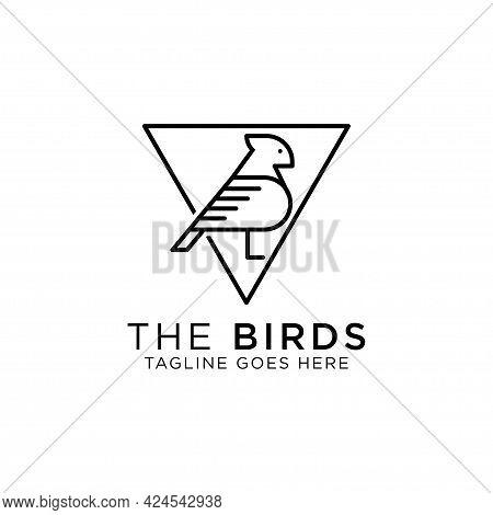 Birds Pigeon Line Art Logo Design Vector, Best For Pet Or Animal Logo Inspirations