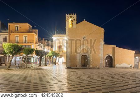 Belvedere of Taormina on the square Piazza IX Aprile in Taormina at night, Sicily, Italy