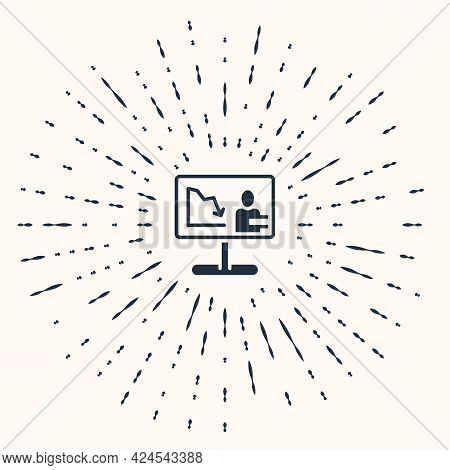 Grey Global Economic Crisis News Icon Isolated On Beige Background. World Finance Crisis. Abstract C