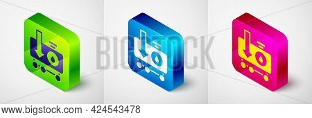 Isometric Drop In Crude Oil Price Icon Isolated On Grey Background. Oil Industry Crisis Concept. Squ