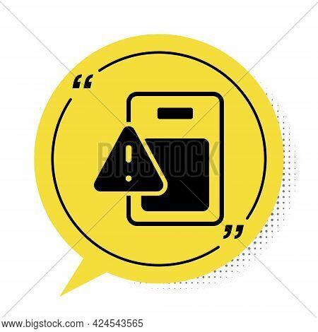 Black Global Economic Crisis Icon Isolated On White Background. World Finance Crisis. Yellow Speech