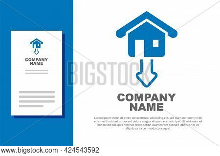 Blue Property And Housing Market Collapse Icon Isolated On White Background. Falling Property Prices