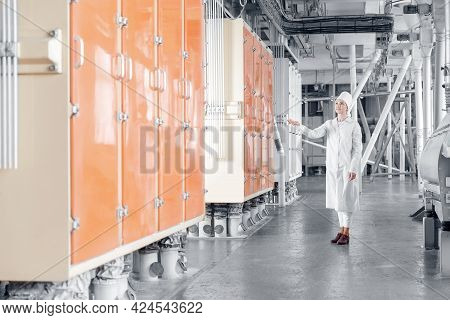 Operator Checks Operation Of Vibrating Machine For Sifting Flour From Wheat And Cereals, Industry Au