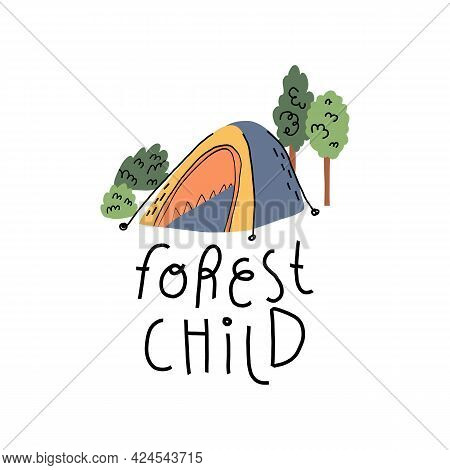 Cute Outdoor Activities, Camping Card, Rest At Nature Banner. Tent Or Touristic Shelter In Woods, Le
