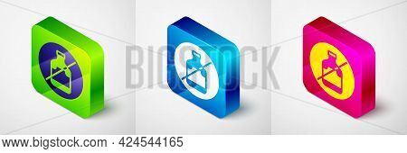 Isometric No Alcohol Icon Isolated On Grey Background. Prohibiting Alcohol Beverages. Forbidden Symb