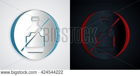 Paper Cut No Alcohol Icon Isolated On Grey And Black Background. Prohibiting Alcohol Beverages. Forb
