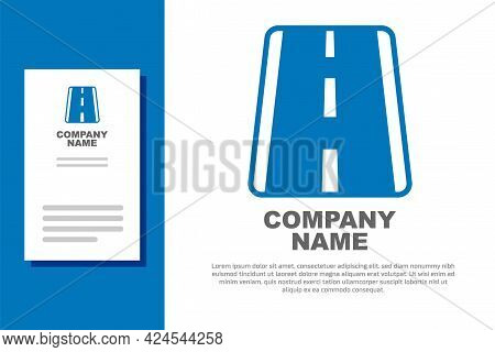 Blue Airport Runway For Taking Off And Landing Aircrafts Icon Isolated On White Background. Logo Des