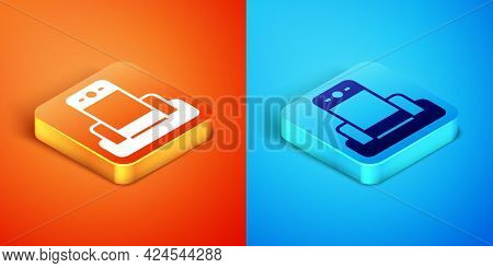 Isometric Metal Detector In Airport Icon Isolated On Orange And Blue Background. Airport Security Gu