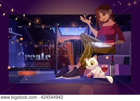 Banner With Woman Artist On Attic At Night. Girl Painter Sit On Sofa And Draw. Vector Landing Page O