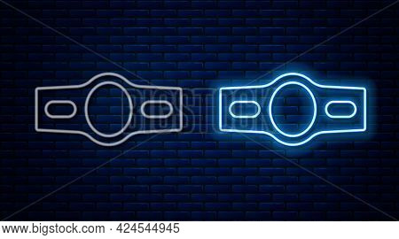 Glowing Neon Line Boxing Belt Icon Isolated On Brick Wall Background. Belt Boxing Sport Championship