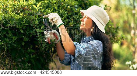 Horizontal Side View Of A Happy Female Gardener Cuts The Bush With Pruners In The Garden. A Young Wo