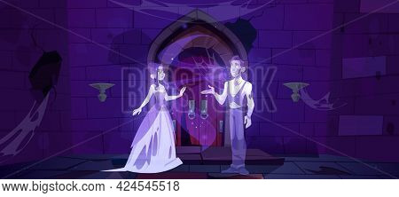 Ghosts In Medieval Dungeon Or Night Old Castle Interior. Dead Couple Lady And Gentleman Dance In Dar