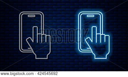 Glowing Neon Line Phone Repair Service Icon Isolated On Brick Wall Background. Adjusting, Service, S