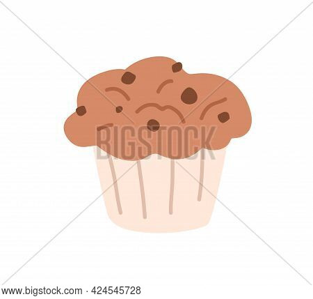 Muffin With Chocolate Flavor And Choco Chips. Cupcake With With Lush Top And Cookie Drops. Sweet Bak