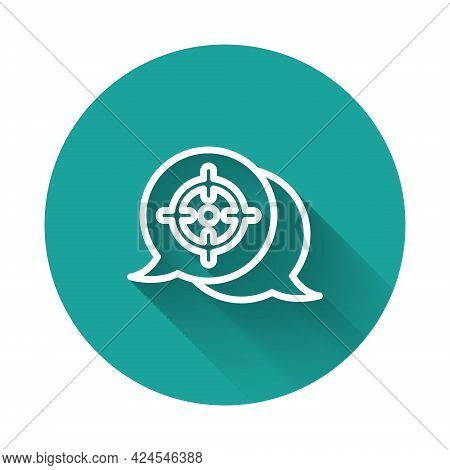 White Line Target Financial Goal Concept Icon Isolated With Long Shadow Background. Symbolic Goals A