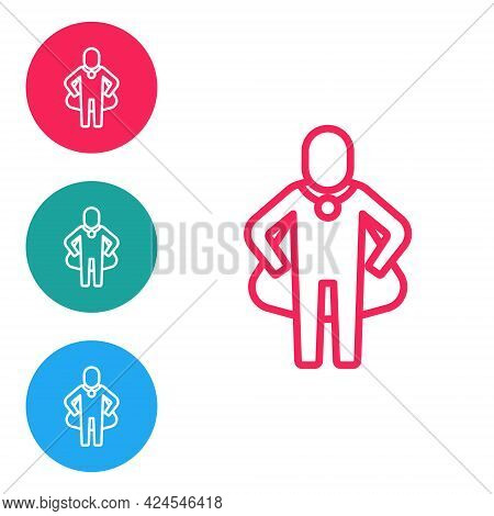 Red Line Head Hunting Icon Isolated On White Background. Business Target Or Employment Sign. Human R