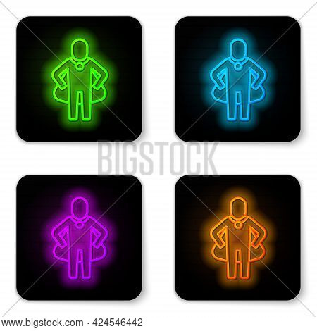 Glowing Neon Line Head Hunting Icon Isolated On White Background. Business Target Or Employment Sign