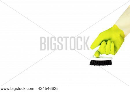 Spring Cleaning Concept. Yellow Cleaning Glove With A Brush Isolated On White. The Concept Of Cleani