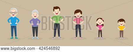 Big Family Strong Arm Poses With Hand On Waist Exercising Together For Good Health ,grandfather, Gra