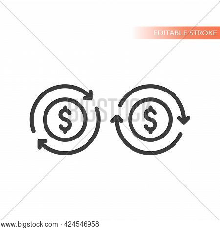 Money Dollar Coin Reload With Arrows. Thin Line Vector Icon, Editable Stroke.