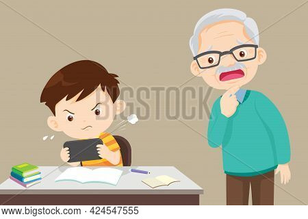 Grandfather In Trouble With A Child Playing Games Without Doing Homework