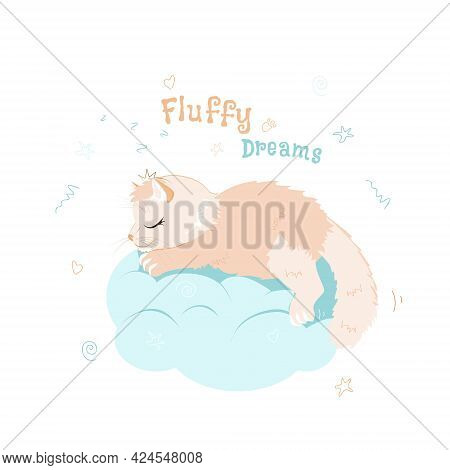 A Cute Fluffy Cat With A Tiara Is Sleeping On A Cloud. Illustration Of The Concept Of A Baby Animal
