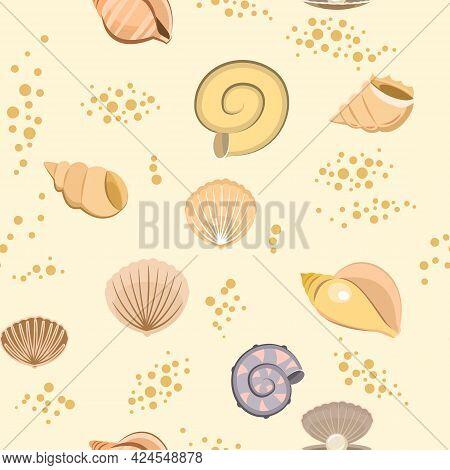 Shells On Sand. Bottom Of Reservoir Or Beach. Sea Ocean. Seamless. Illustration In Cartoon Style. Fl
