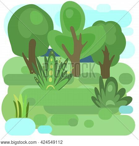 Flat Forest. Illustration In A Simple Symbolic Style. Funny Green Landscape. Isolated. Meadow. Comic