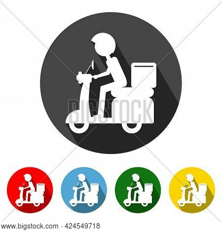 Food Delivery Icon Vector Illustration Design Element With Four Color Variations.food Delivery Icon