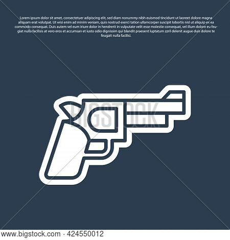 Blue Line Pistol Or Gun Icon Isolated On Blue Background. Police Or Military Handgun. Small Firearm.